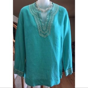 Craig Taylor Tunic Top Turquoise Silver Linen S